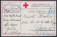 WWI Austria-Hungary 1918 POW mail, camp Grodig, censored card sent to Paris
