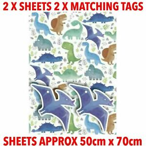 Dinosaur Gift Wrap 2 X Sheets 2 X Matching Tags