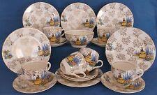 VINTAGE CRINOLINE LADY CHINA GOLD CHINTZ TEA SET MADE IN ENGLAND WEDDING