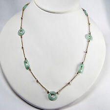 10k Yellow Gold GREEN JADE STATION NECKLACE LONG 36 INCHES