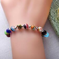 8mm Bunte Farbige Glas PerlenElastische Armband Perlen Armreif Mode schmuck