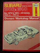 """SUBARU 2WD & 4WD """" 1600 & 1800 """" 1979 - 1983  SERVICE and REPAIR MANUAL"""