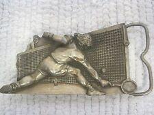 """1980 Bergamot Brass Co #A-86 Tennis Belt Buckle 3 1/2"""" x 2""""-Made in USA"""
