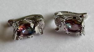 925 Silver & Mystic Topaz Set Elephant Shaped Earrings For Pierced Ears 3.9 Gram