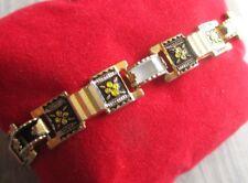 Ancien bracelet bijou vintage or de Tolède nacre chaînette de sécurité 5093