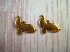 Small Solid Raw Brass Seal Charms (2) - Mbr8063 Jewelry Finding