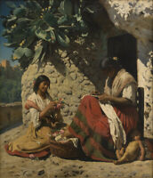 "oil painting handpainted on canvas ""Two gypsy women outside their home """