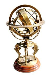 """18"""" Armillary Globe Sphere Engraved with Compass on Wooden Base~Home Decor"""