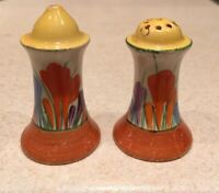 Clarice Cliff Crocus Muffineer Salt And Pepper Shakers