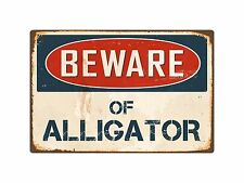 """Beware Of Alligator 8"""" x 12"""" Vintage Aluminum Retro Metal Sign VS010"""
