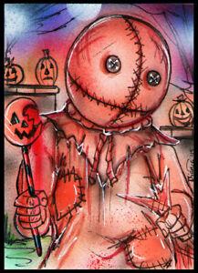 Trick R Treat SAM Original Horror Sketch Card Painting by Bianca Thompson