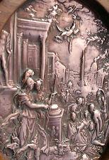 "Antique Ancient Rome Copper Cast Wall Plaque 7"" Diameter"