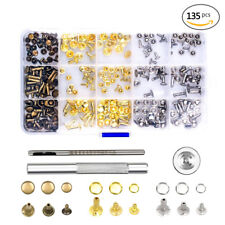 135Pcs DIY Leather Craft Snap Fasteners Snaps Buttons Fixing Hat Rivet Tools Kit