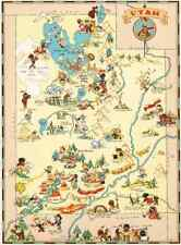 Canvas Reproduction, Vintage Pictorial Map of Utah Ruth Taylor 1935