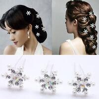 5PCS Lovely Wedding Bridal Crystal Rhinestone Pearl Snowflake Hair Pin Newly Hot
