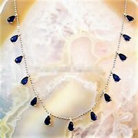 AAA QUALITY 925STERLING SILVER HANDMADE JEWELRY 17 INCHES BLUE SAPPHIRE NECKLACE