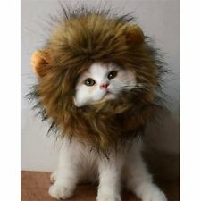 Fancy Furry Pet Costume Hat Lion Mane Wig For Cat Halloween Dress Up With Ears