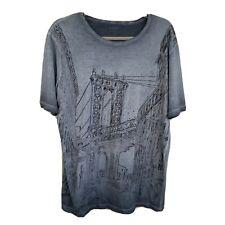 Loft Men's Blue Gray Black Short-Sleeve Tee Shirt Bridge Size L Slim