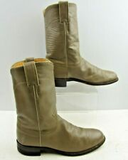Ladies Justin Taupe Leather Round Toe Roper Western Boots Size: 7.5 B