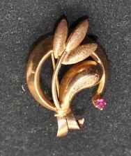 Spilla donna Oro 750 18 Kt  rubino naturale vintage
