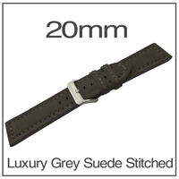 20mm Grey Chunky Genuine Leather Suede Stitched Watch Strap + FREE Spring Bars