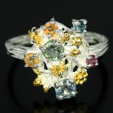GENUINE MULTI COLOR SAPPHIRE ROUND STERLING 925 SILVER 2-TONE FLOWER RING 6.75