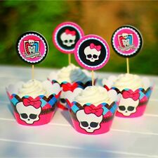48 Pcs Set,24 Monster High Cupcake Wrappers & 24 Toppers Kids B-day Party Supply