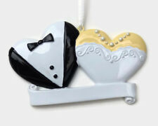 Bride and Groom Hearts - Wedding Gift Christmas Ornament - DIY Personalizable