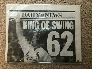 MARK MCGWIRE 62nd HOME RUN COMPLETE NEWSPAPER NEW YORK DAILY NEWS SEPT 9, 1998