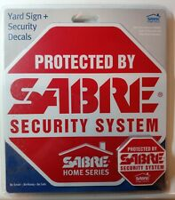 Sabre Weatherproof Security Yard Sign w/ Stake & Five Warning Decal Stickers