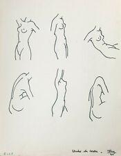 Dessin Vintage 1940 Étude Anatomique Anatomie Torse Nu Féminin Femme Art Déco #7