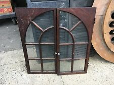 """pair antique cabinet doors arched design old glass 31.75"""" h x 17.25"""" wide"""