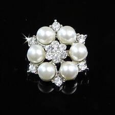 5 Klarglas Strass Versilbert Legierung Künstlich Perlen Knöpfe Nähen Handgemacht