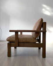 VINTAGE 70s 80s SOLID WOOD LEATHER EASY CHAIR ARMCHAIR LOUNGE