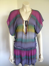 Accessories Rainbow Short Sleeve Semi Sheer Striped BoHo Hippie Tunic Size 8