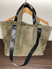Khaki Suede Leather Tote Bag Ladies Long And Short Handle/ Strap