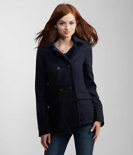 Aeropostale Womens Navy Red Lined Hooded Peacoat Pea Coat Winter Jacket Coat NWT