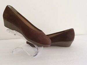 Soft Spots Leather Suede Brown Low Wedge Heels Slip On Women's Shoes Size 5.5 M