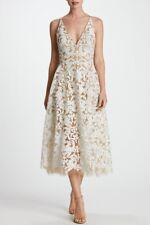 Dress the Population White Nude Sequin Lace Blair Fit Flare Midi Dress S NWT