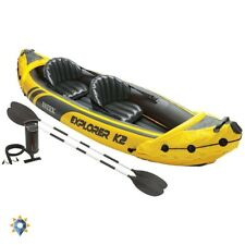 Whitewater Kayak Two Person Tandem Inflatable Fishing Double Boat Oars&Pump Set