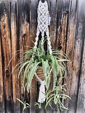 BOHO Vintage Style Macrame Plant Hanger Chunky White Cotton Rope