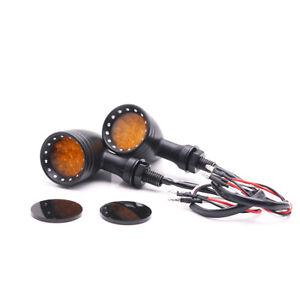 2x Amber LED Bullet Motorcycle Turn Signal Light LED Brake Light Scooter Offroad