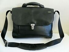 Tumi Black Leather Briefcase Messenger Carry On Laptop Business Bag