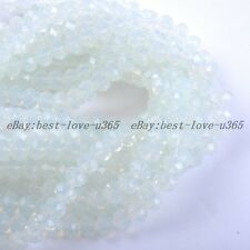 100Pcs Clear White Opal Czech Crystal Faceted Rondelle Spacer Beads 4MM