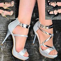 Ladies Metallic Strap Caged Party Sandals Women Platform High Heel Evening Shoes