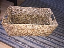 VINTAGE BAMBOO VINE WOVEN BASKET WITH HANDLES