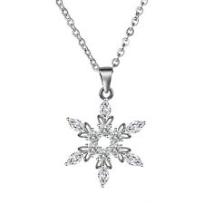 Jewelry 925 Sterling Silver Snowflake Cubic Zirconia Pendant Necklace Christmas