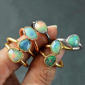 Natural High Fire Opal Gemstone Antique Fashion Design Stackable Woman Love Ring