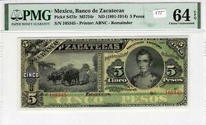 Mexico 1891-1914 5 Pesos PMG Certified Banknote Choice UNC 64 EPQ S475r ABNC
