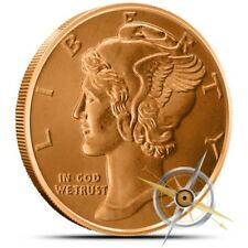 1 OZ .999 Fine Copper Round Bullion - AVDP - Mercury Dime - Coin